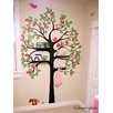 Pop Decors Shelving Tree with Birds and Squirrels Wall Decal