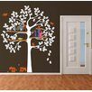 Pop Decors Shelving Tree with Squirrels Wall Decal