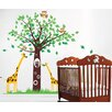 Pop Decors Big Tree with Cute Giraffe Wall Decal