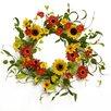 """Floral Home Decor 20"""" Silk Sunflower and Daisy Wreath"""