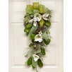 Floral Home Decor Elegant Magnolia Swag with Ribbon