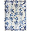 Homefires Floral Repeat White/Blue Area Rug