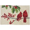 Homefires Cardinals on Winterberry Branch Beige/Red Area Rug