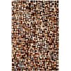 Dynamic Rugs Leather Work Brown Multi Checked Rug