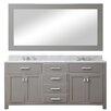 "dCOR design 72"" Double Sink Bathroom Vanity Set with Mirror"
