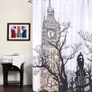 """Sweet Home Collection Fabric Shower Curtain with Eiffel Tower Print (70""""x72"""")"""