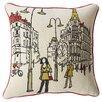 Mercury Row Embroidered Paris Street  Throw Pillow