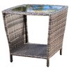 Mercury Row Austral Outdoor Wicker Side Table with Glass Top