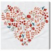 Mercury Row Cranberry Heart Painting Print on Wrapped Canvas