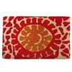 A1 Home Collections LLC Red Flower Doormat