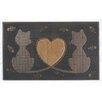 A1 Home Collections LLC Twin Heart Cat Doormat