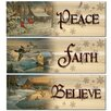 WGI WoodGraphixs, Inc Believe / Faith / Peace by Sam Timm 3 Piece Graphic Art Plaque Set