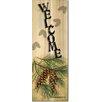 WGI-GALLERY Welcome Pine Cone Graphic Art Plaque