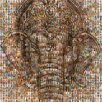 RareArtStudios Temple Ganesh Silhouette Mosaic Limited Graphic Art Unwrapped on Canvas