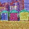 RareArtStudios Brighton Beach Huts Mosaic Limited Graphic Art Wrapped on Canvas