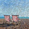 RareArtStudios Brighton Deckchairs Mosaic Limited Graphic Art Wrapped on Canvas