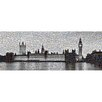 RareArtStudios London Westminster Lights Black & White Mosaic Limited Graphic Art on Canvas