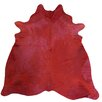 Chesterfield Leather Extra Large Dyed Brazilian Cowhide Rich Red Area Rug