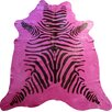 Chesterfield Leather Stenciled Brazilian Cowhide Pink/Black Zebra Area Rug