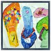 "Empire Art Direct ""Flip Flop Dreams A"" Original Handmade Paper Collage Signed by Gianni Framed Graphic Art"