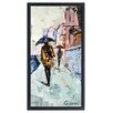 """Empire Art Direct """"City Rain"""" Original Handmade Paper Collage Signed by Gianni Framed Graphic Art"""