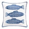 Kate Nelligan 3 Fish Embroidered Linen Pillow