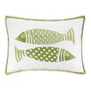 Kate Nelligan 2 Fish Embroidered Linen Lumbar Pillow