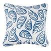Kate Nelligan Indigo Coast Shells Outdoor Cotton Throw Pillow