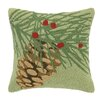 Laurel and Mayfair Winter Bird Pinecone Hook Wool Throw Pillow