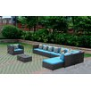 Fine Mod Imports Garden 7 Piece Sectional Seating Group with Cushions