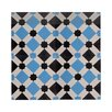 "Moroccan Mosaic Ait Baha 8"" x 8"" Handmade Cement Tile in Black and Blue"