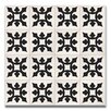 """Moroccan Mosaic Tishka 8"""" x 8"""" Handmade Cement Tile in Black and White"""