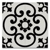 """Moroccan Mosaic Orika 8"""" x 8"""" Handmade Cement Tile in Black and White"""
