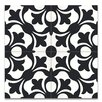 """Moroccan Mosaic Sefrou 8"""" x 8"""" Cement Tile in Black and White"""