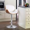 Adeco Trading Bentwood Adjustable Height Bar Stool with Cushion
