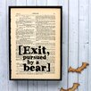 "Bookishly ""[Exit, pursued by a bear]"" from The Winter's Tale by William Shakespeare Framed Typography"