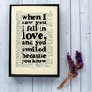 Bookishly When I Saw You I Fell in Love from Falstaff by Arrigo Boito Frame Typography