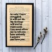 Bookishly In Vain I Have Struggled... from Pride and Prejudice by Jane Austen Framed Typography