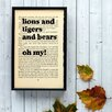 "Bookishly ""Lions and Tigers and Bears"" from Wizard of Oz by L. Frank Baum Framed Typography"