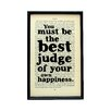Bookishly You Must Be the Best Judge of Your Own Happiness from Emma by Jane Austen Framed Typography