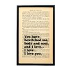 "Bookishly ""You Have Bewitched Me"" from Pride and Prejudice by Jane Austen Framed Typography"