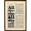 "Bookishly ""All the World's a Stage"" by William Shakespeare Framed Typography"
