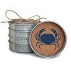 Occasionally Made Coastal Home Crab Stack Mason Jar Coaster (Set of 4)