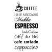 Cuadros Lifestyle Coffee - Espresso - Mocca Wall Tattoo