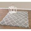 Diagona Designs Design Era Gray/Ivory Modern Moroccan Trellis Shaggy Area Rug