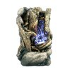 Fiber and Resin Tree Trunk Fountain with LED Light - Hi-Line Gift Ltd. Indoor and Outdoor Fountains