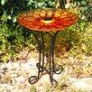 Floral Glass Solar Birdbath with Stand - Hi-Line Gift Ltd. Bird Baths