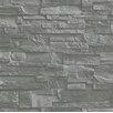 """Washington Wallcoverings Factory II 20.5"""" x 396"""" Vinly Roll in Dark Gray Shadow Faux Slate"""