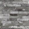 "Washington Wallcoverings Factory II 30.75' x 20.5"" Silver On Black Faux Brick Embossed Wallpaper"
