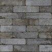 "Washington Wallcoverings Factory II 30.75' x 20.5"" Dark Gray Faux Brick Embossed Wallpaper"